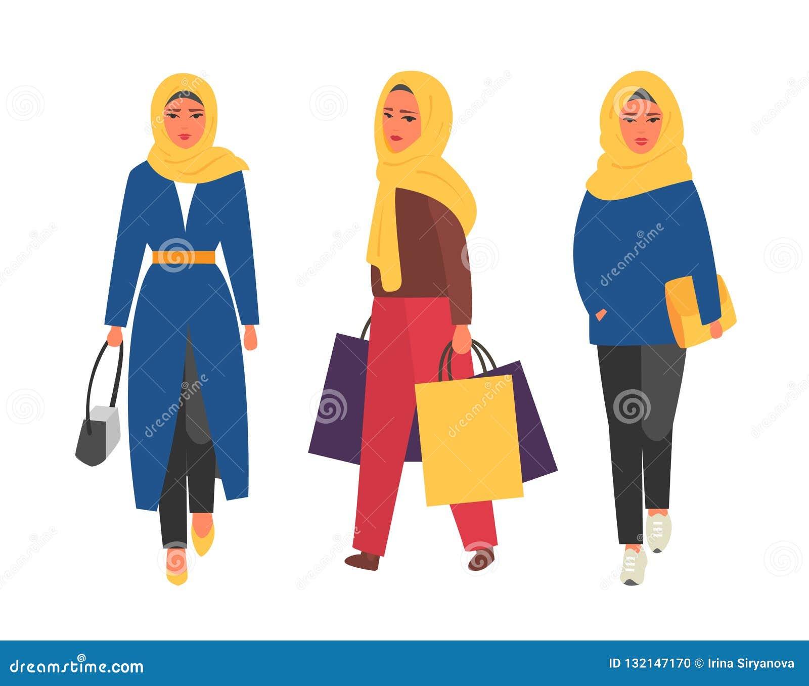 Hijab Muslim Woman Arab Modern Fashion Vector People Stock