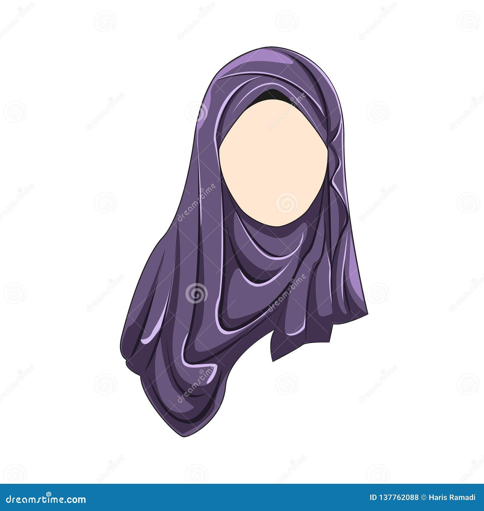 Hijab muslimah purpur wektorowy kolor
