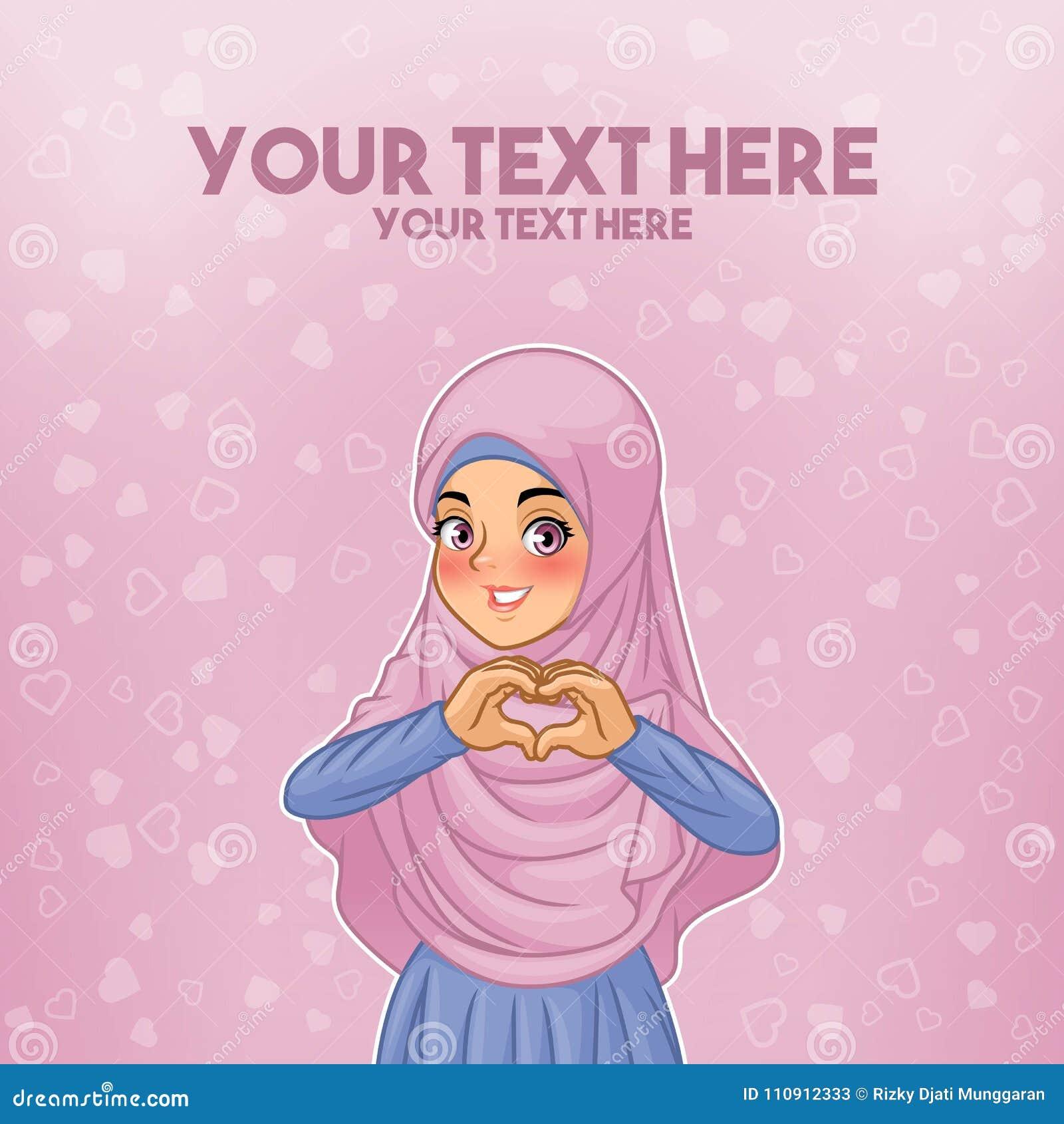 Hijab que lleva de la mujer musulmán que hace forma del corazón con sus manos