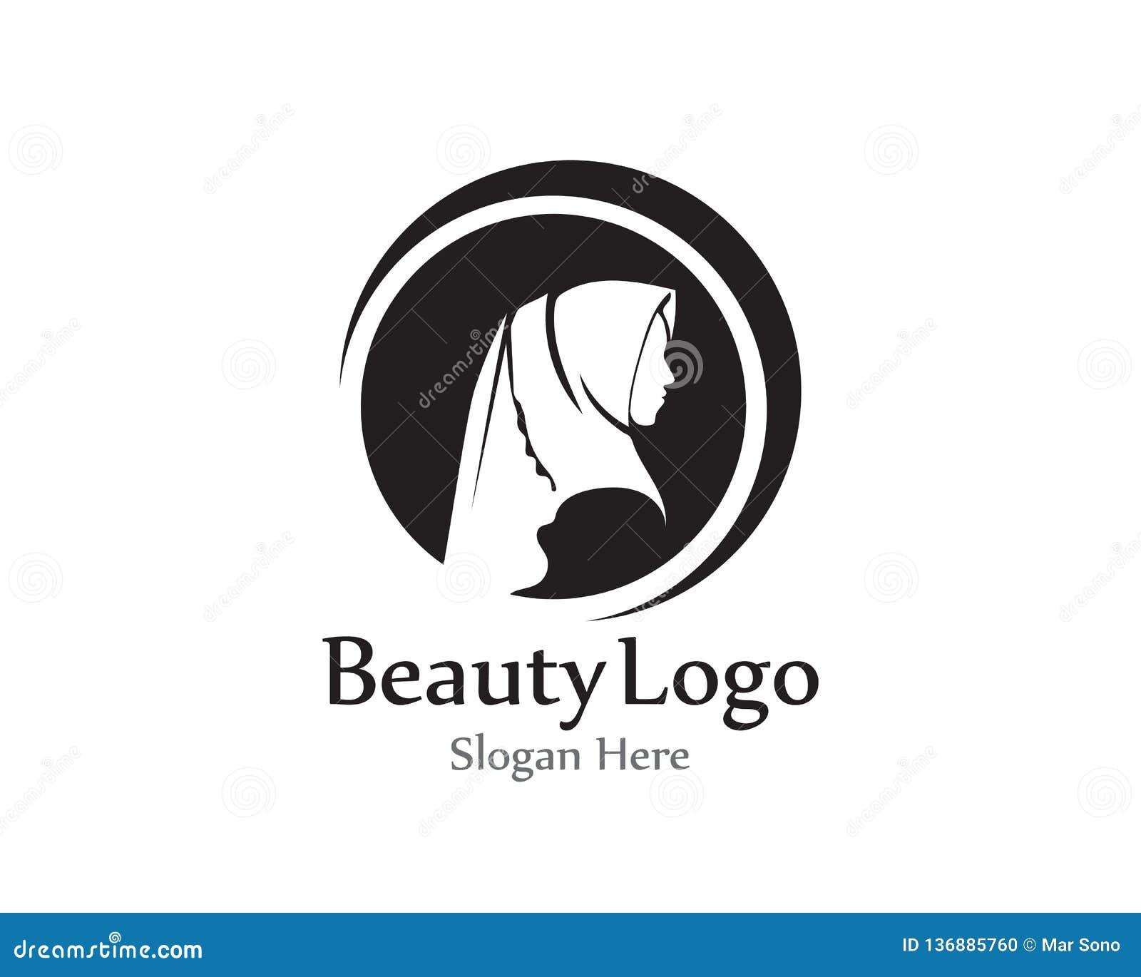 Hijab Vector Black Beauty Logo Stock Vector Illustration