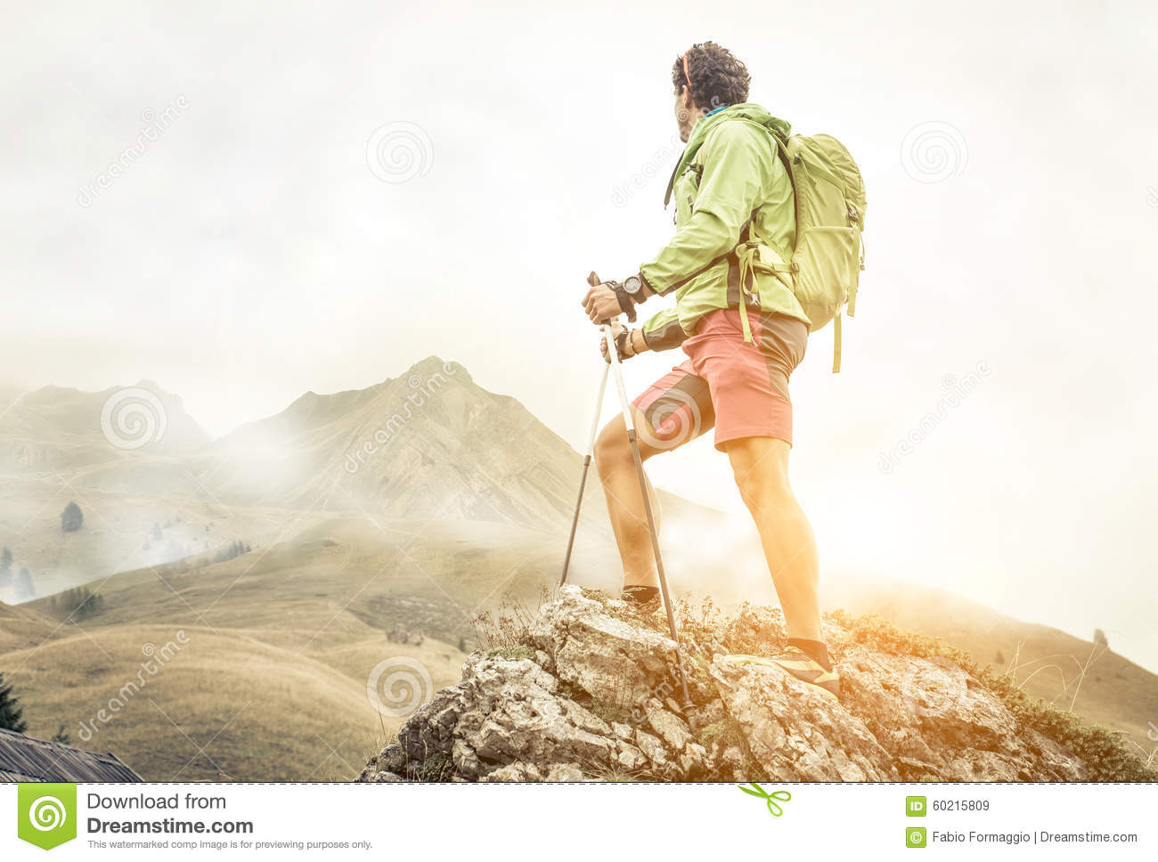 Hiker climbing on the mountains.