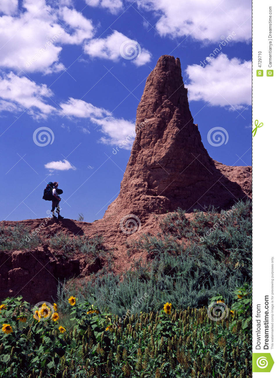 Hiker and collapsed watchtower