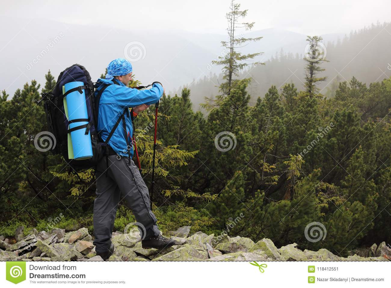 Active Healthy Man Hiking In Beautiful Forest Stock Image ...