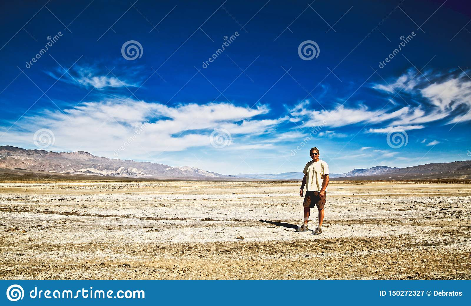Hiker Mountains Death Valley Salt Flats Stock Image Image Of Mountain Flats 150272327