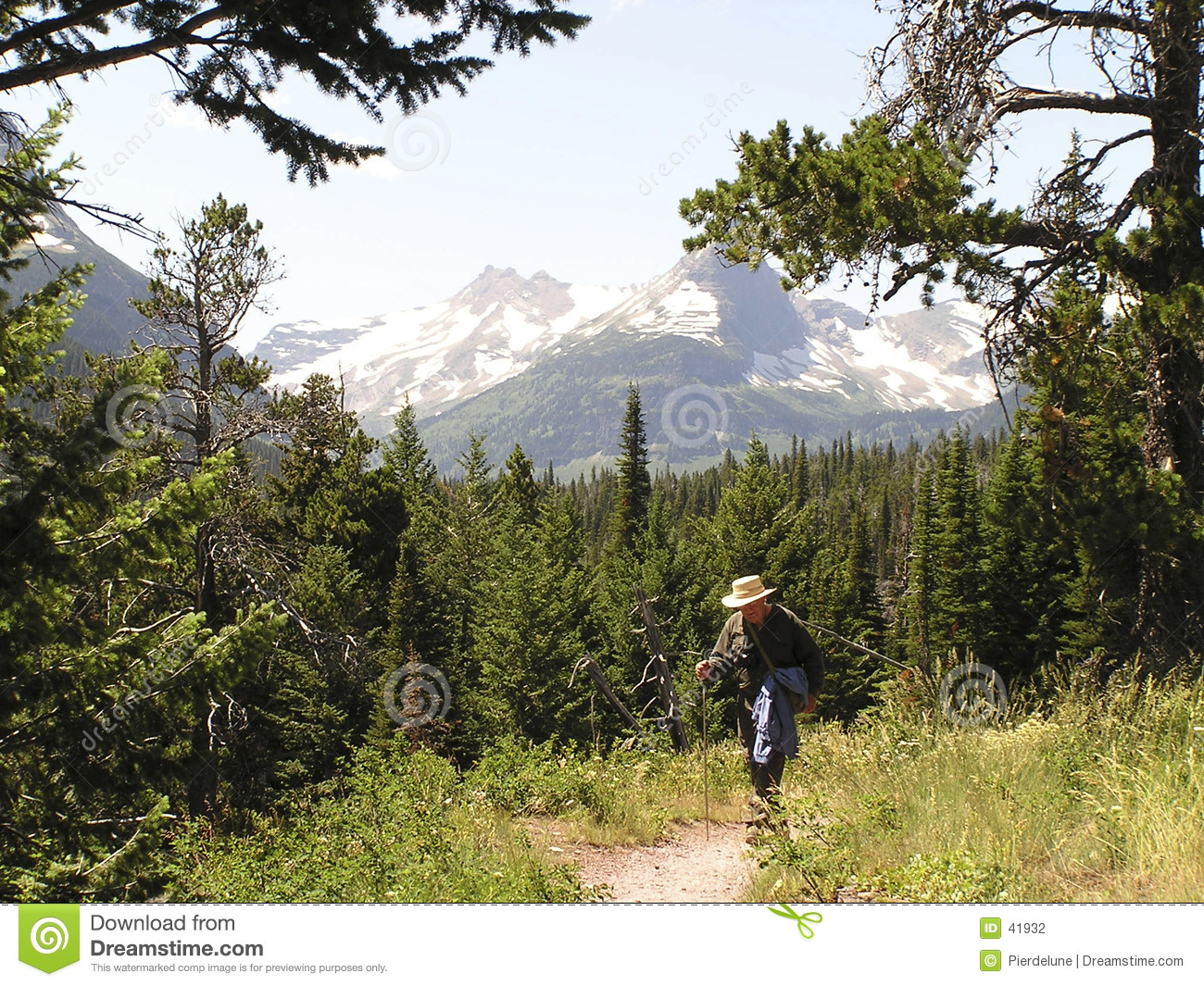 Hiker on path