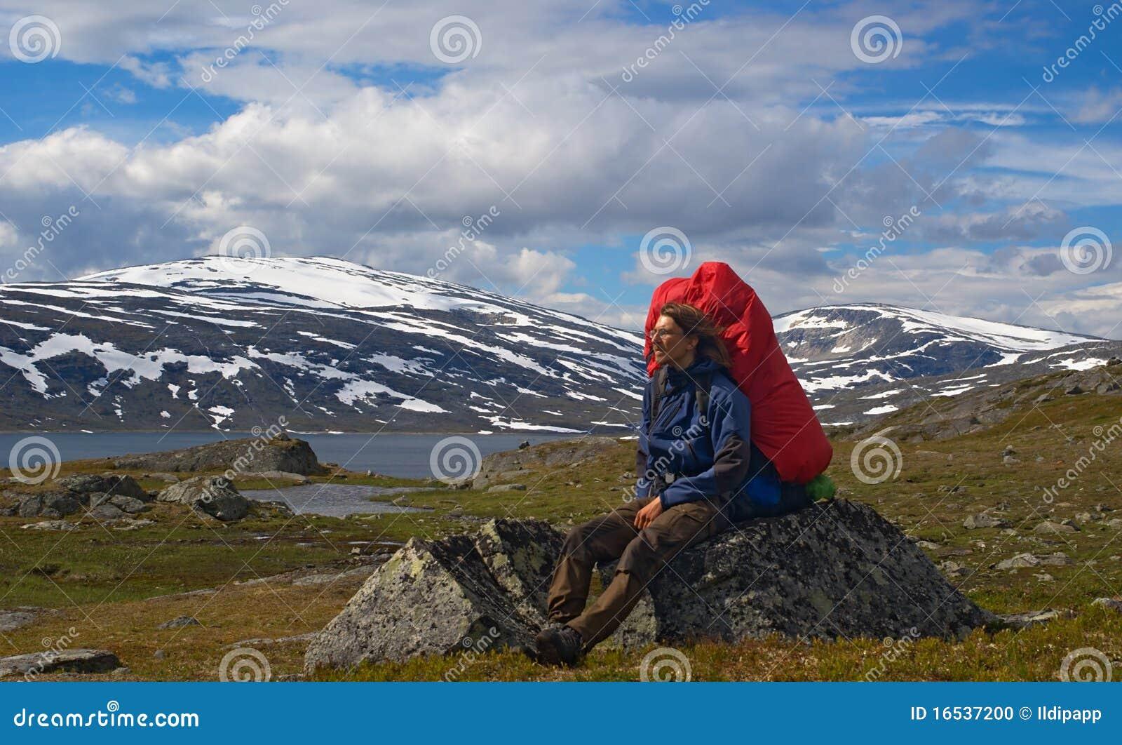 Hiker Resting on Rock