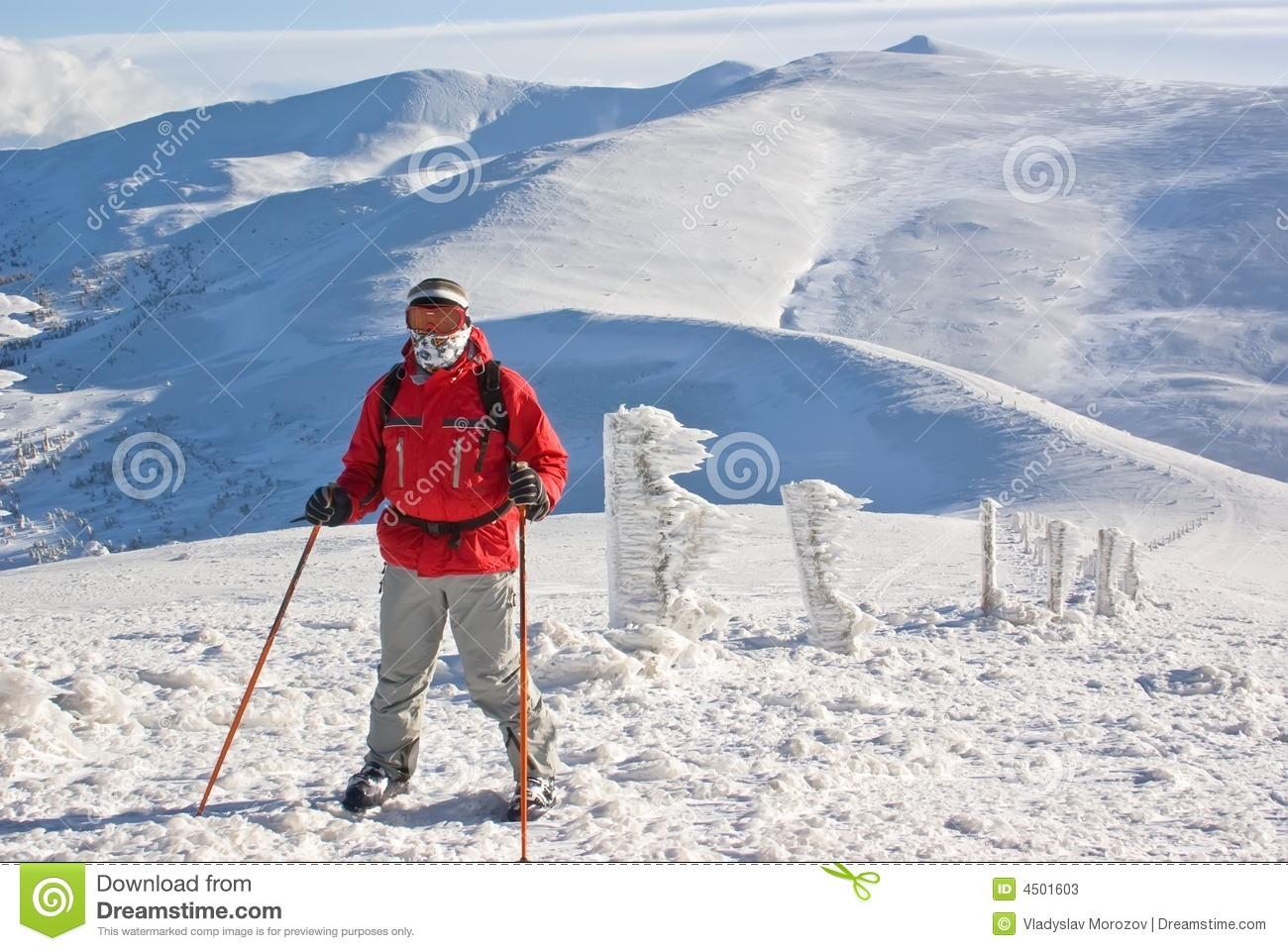 Hiker On The Top Of Mount Behind Peak Stock Photos - Image ...