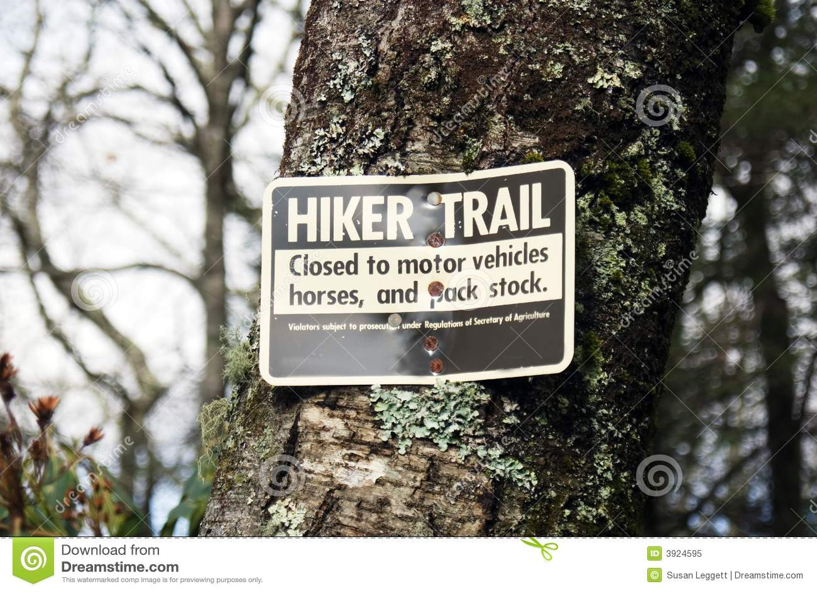 Hiker trail sign