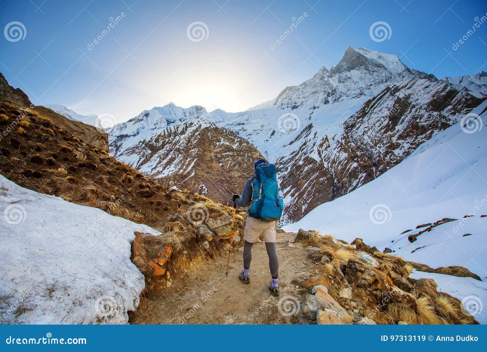 Hiker on the trek in Himalayas, Annapurna valley