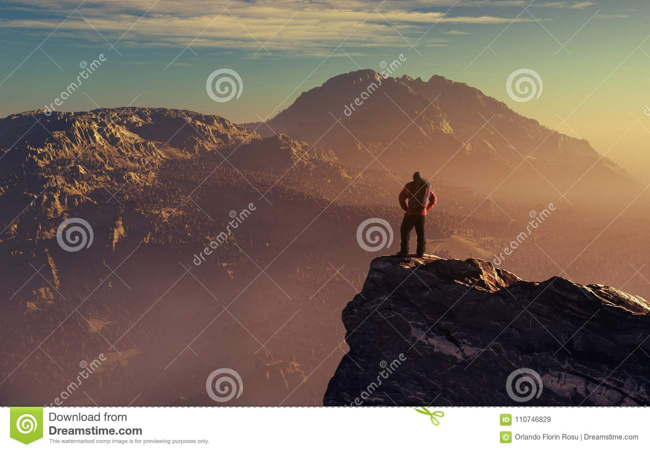 Hiker up the mountain cliff