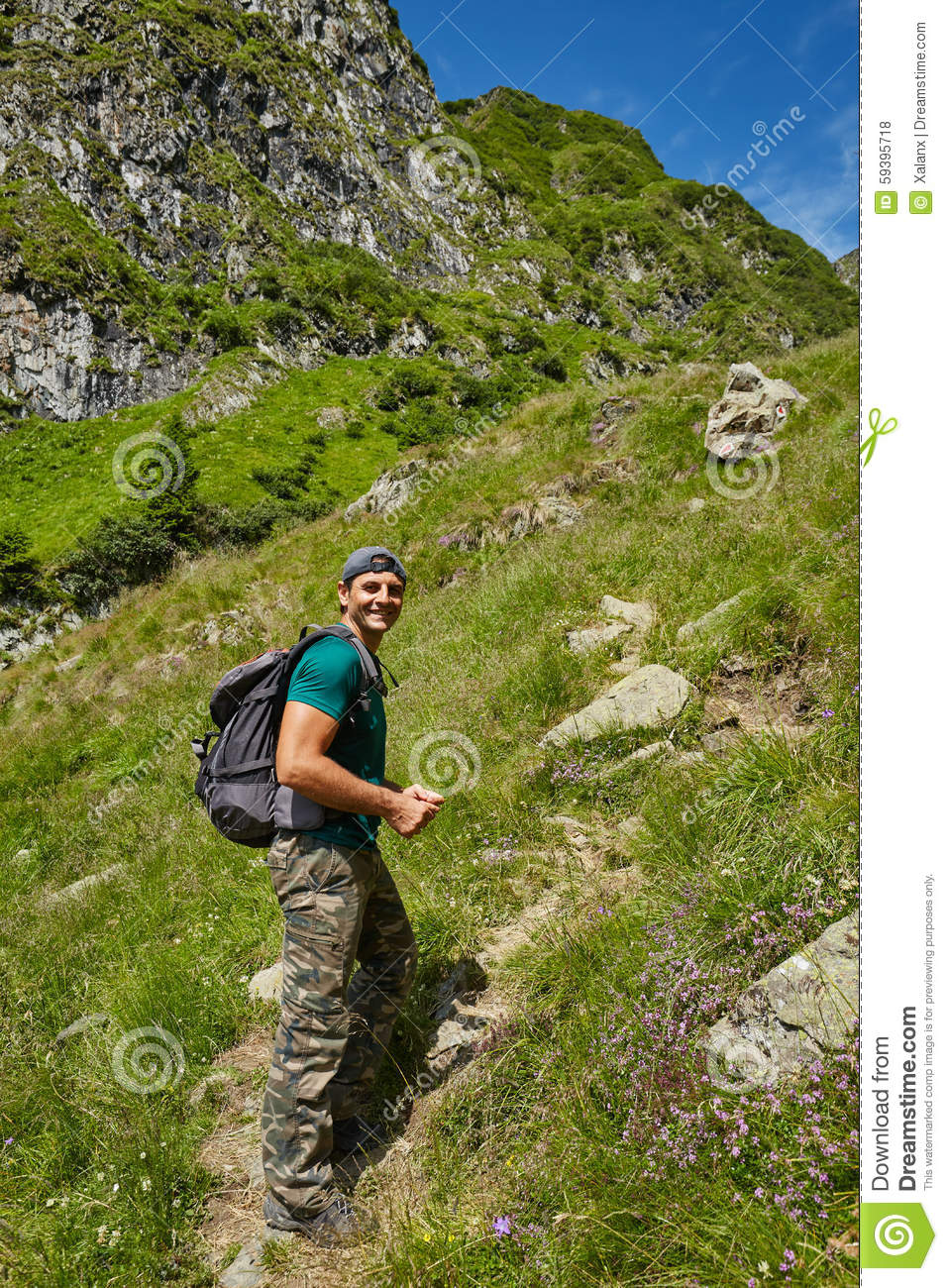 Hiker Going Up On A Mountain Trail Stock Photography ...