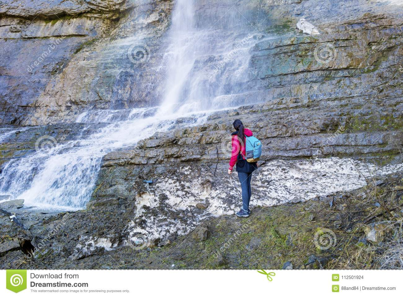 Hiker Woman Looking Big Waterfall