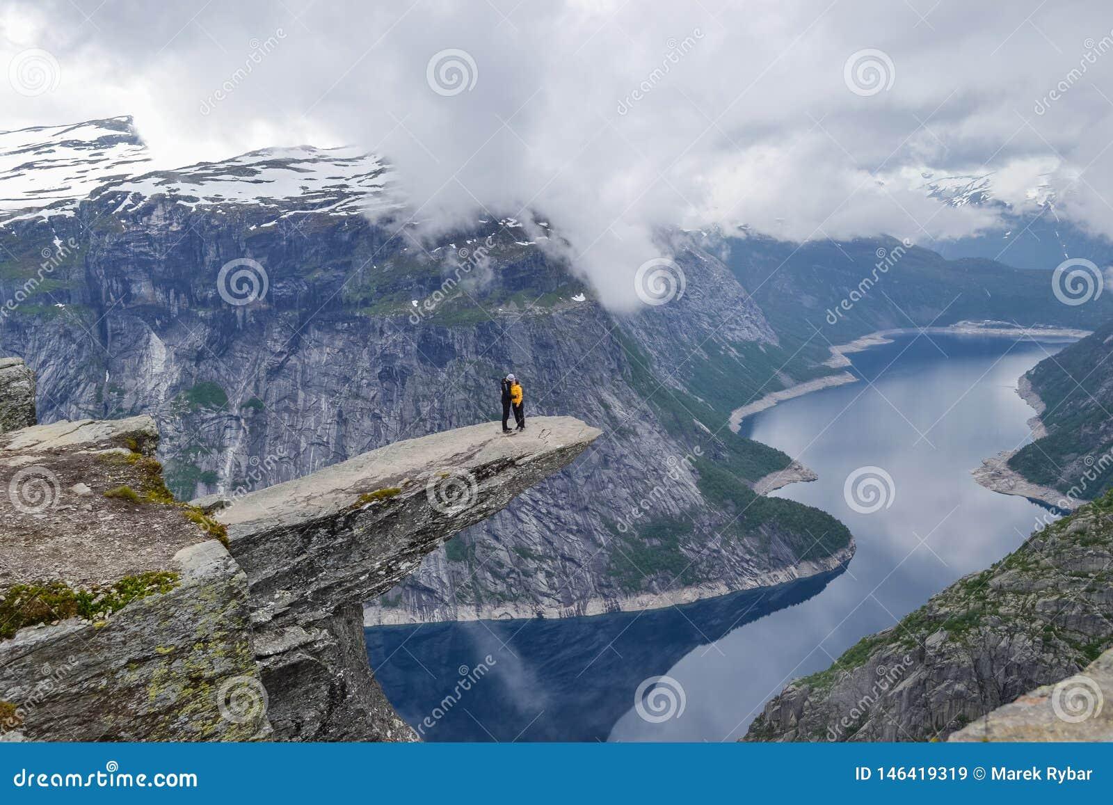 Trolltunga, Odda, Norway 21. June 2016, Hikers on the hiking trail to the world famous Trolltunga hike. Beautiful Norway, outdoors