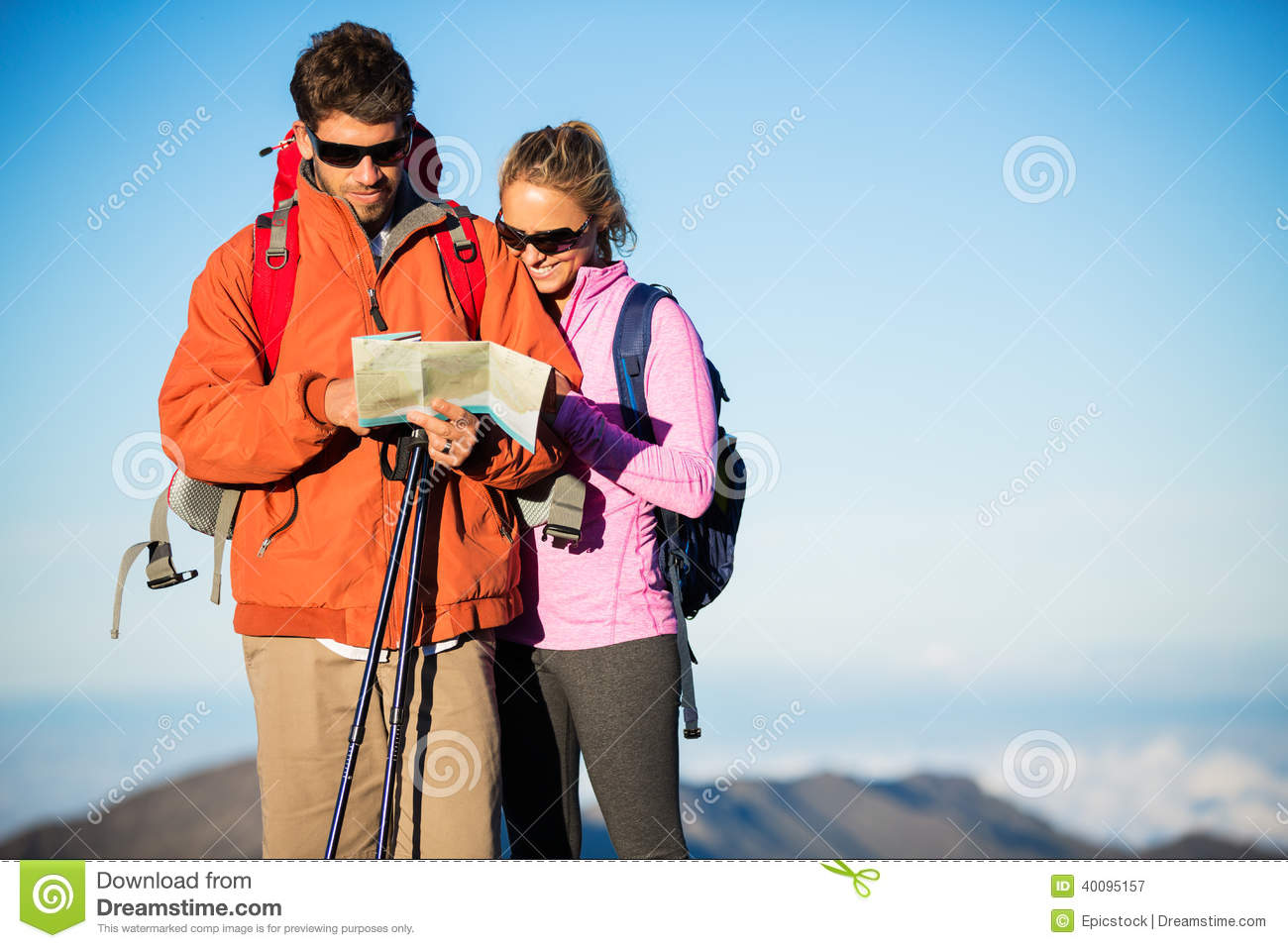 Couple Of Hikers Looking At Map Royalty-Free Stock Image ...
