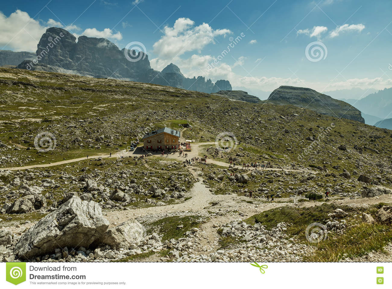 Hikers on the popular trail from Rif. Auronzo to Monte Paterno arrive at Patern
