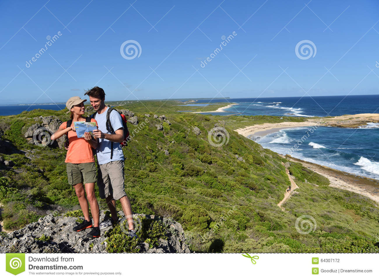 Hikers sightseeing the islands