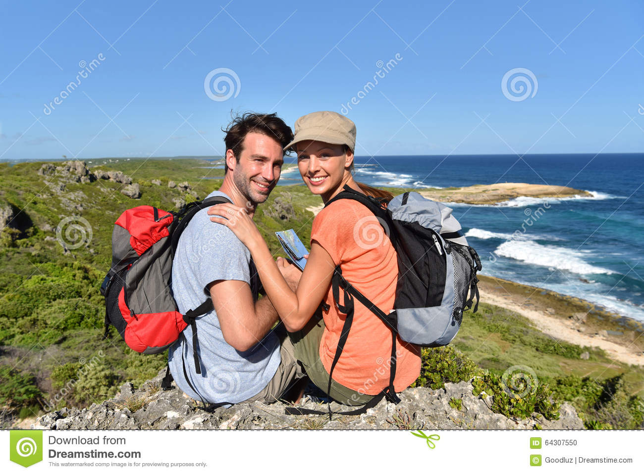 Hikers on trip enjoying the view on islands