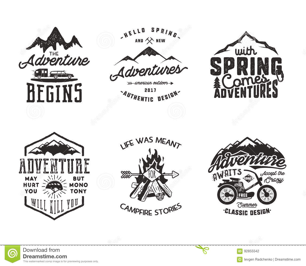 Hiking Adventure And Outdoor Explorer Typography Labels Set