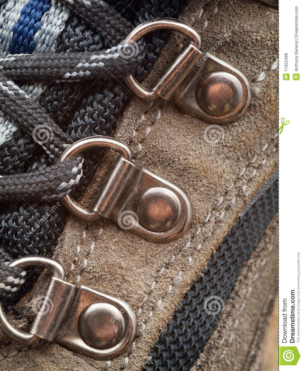 Hiking Boot Shoelace Eyelet Detail Royalty Free Stock