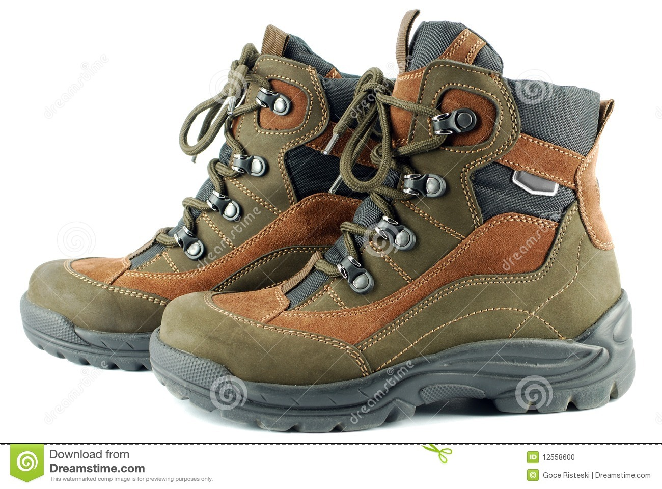 Hiking Boots Stock Photo Image Of Shoelace Footwear 12558600