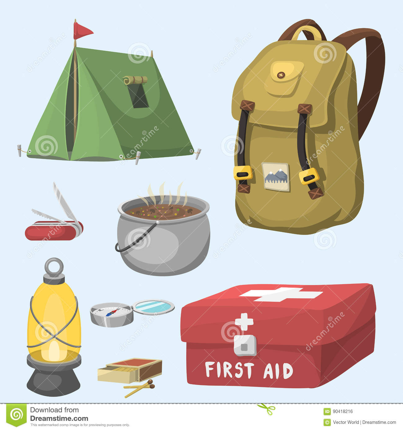 5707d4bd16ea8f Hiking camping equipment base camp gear and accessories outdoor cartoon  travel vector illustration.