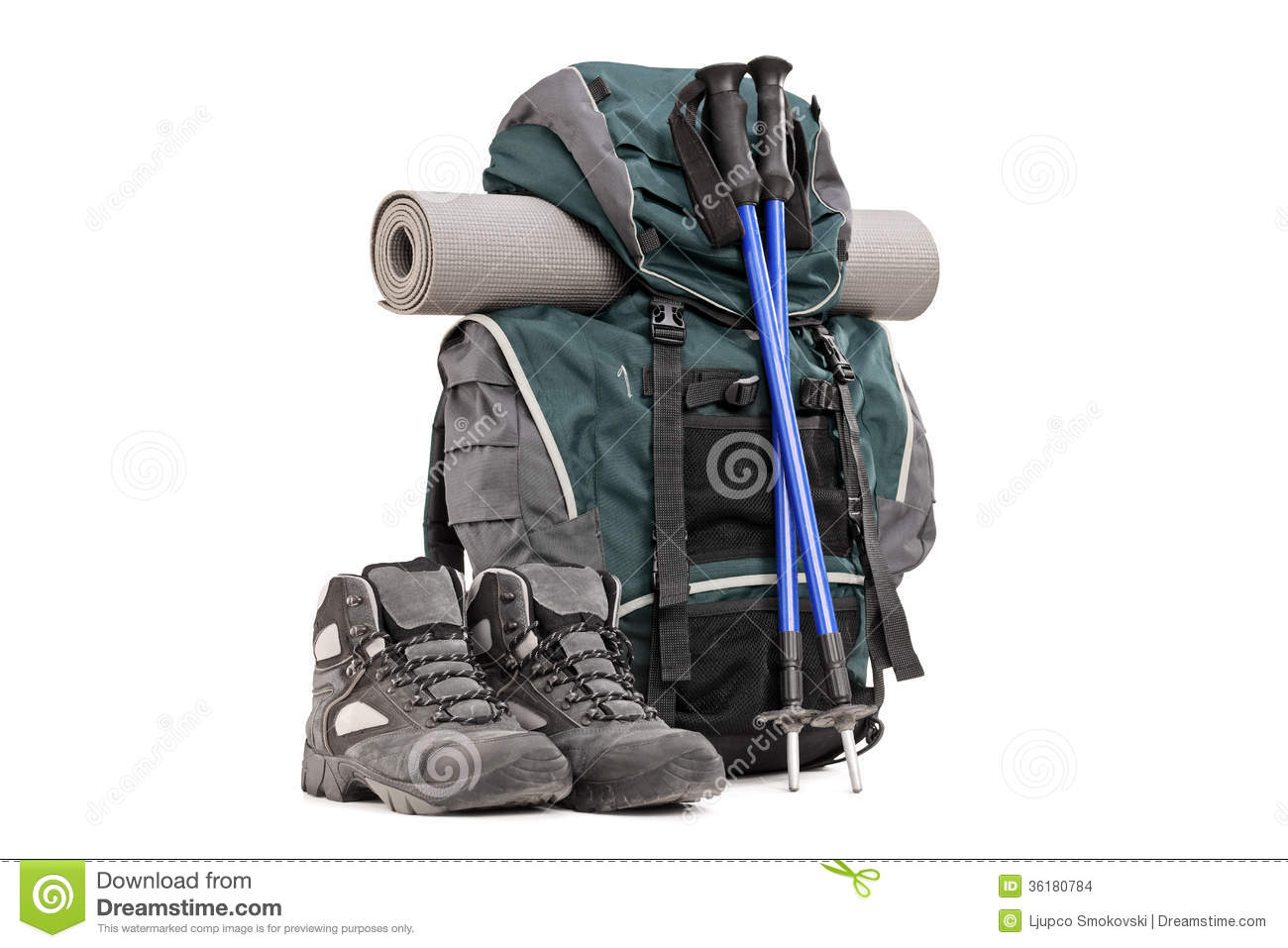 Hiking Equipment, Rucksack, Boots, Poles And Slipping Pad ...
