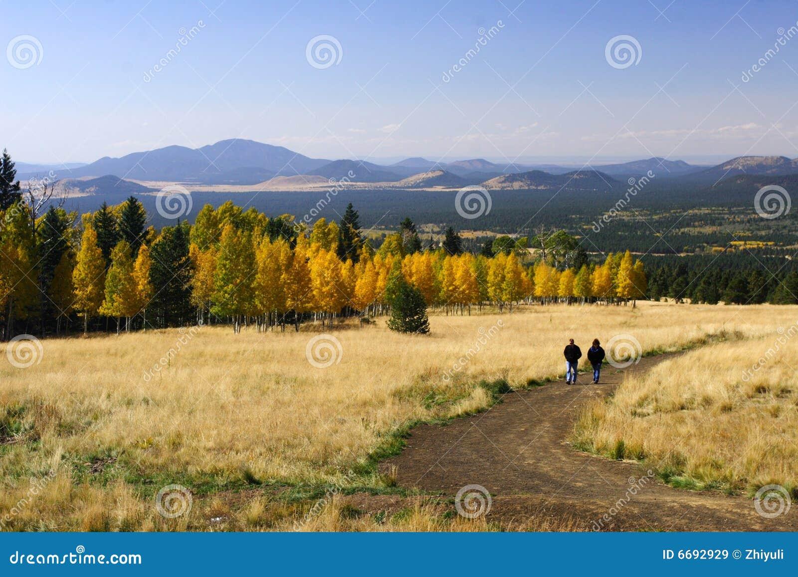 Hiking in fall color Flagstaff Arizona