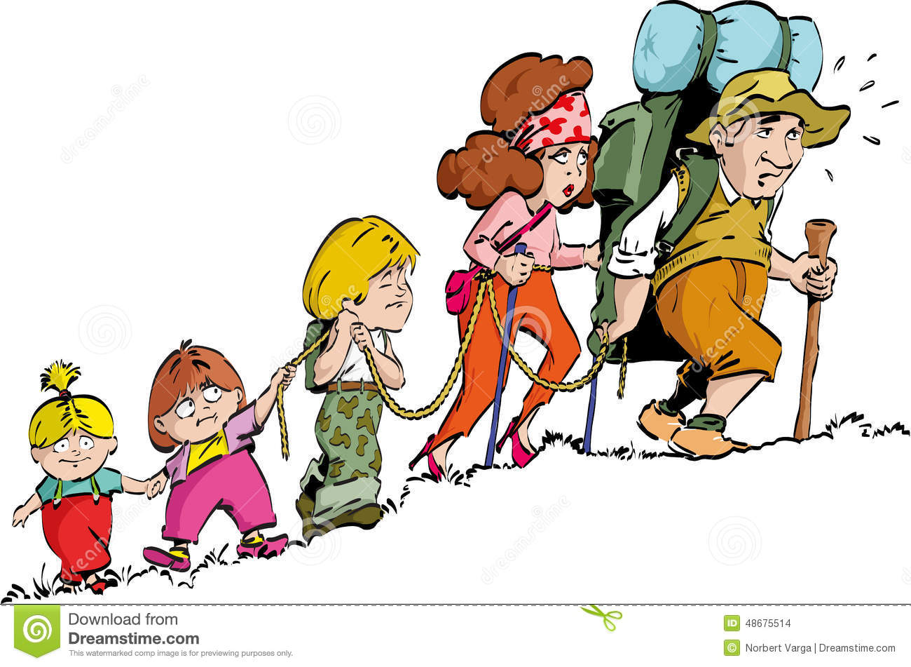 hiking family stock vector image 48675514