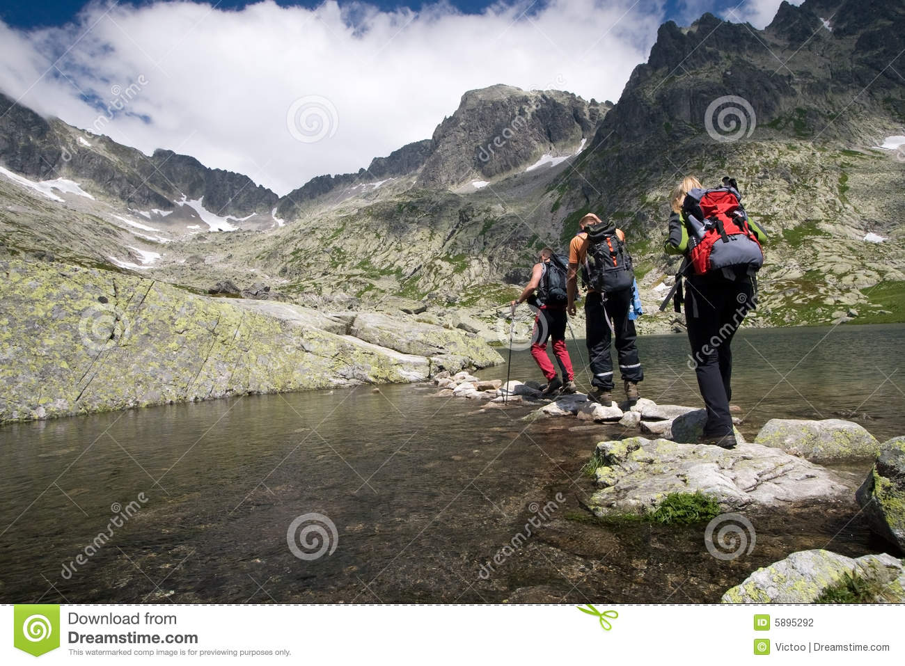 Hiking in high mountains