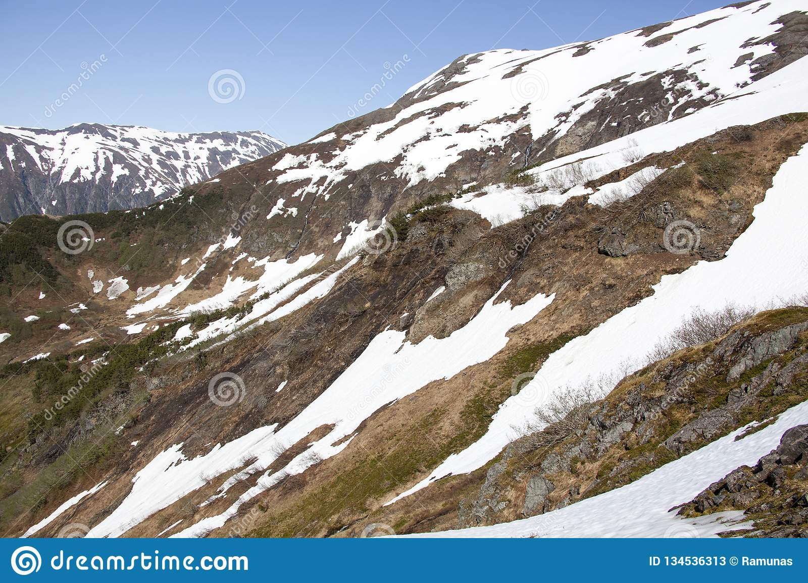 Hiking In Juneau. The scenic view during late springtime from Mount Roberts outside Juneau town Alaska stock photos