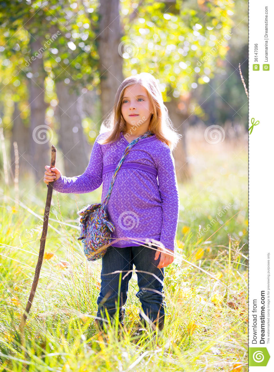hiking kid girl with walking stick in autum poplar forest stock photo image of country. Black Bedroom Furniture Sets. Home Design Ideas
