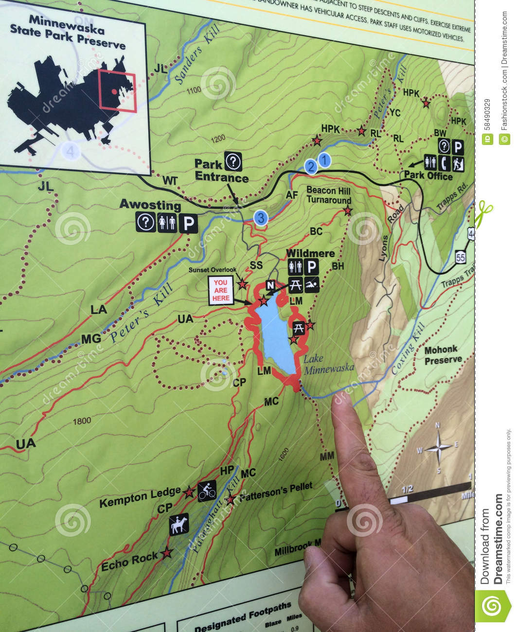 Hiking Map At Minnewaska State Park Stock Image