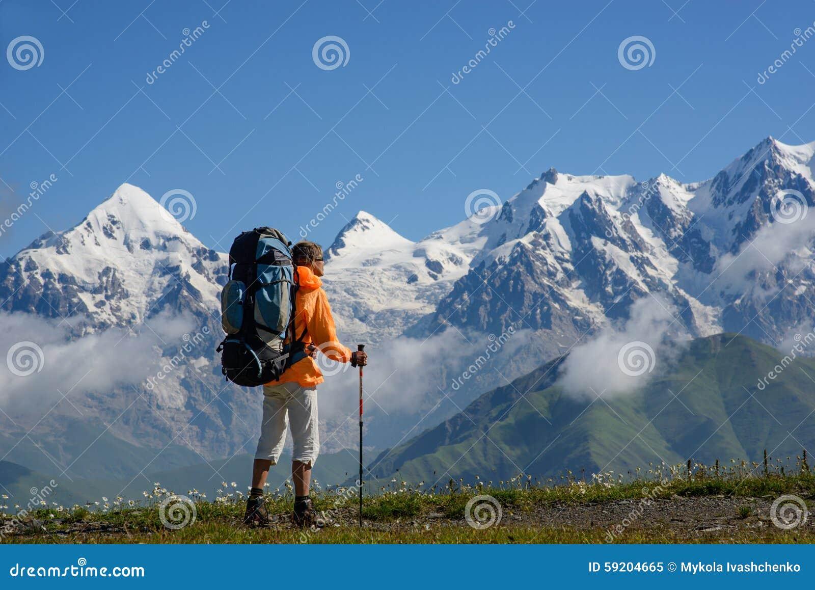 People Hiking On Snow , Svaneti Landscape Stock Photo ...