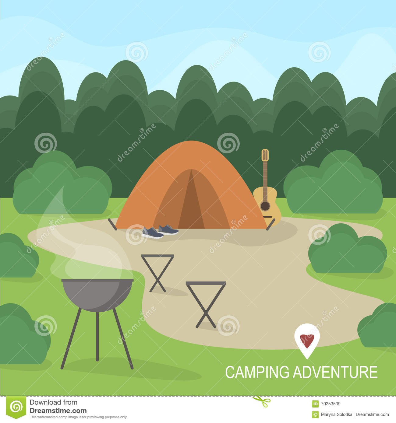 Hiking and outdoor recreation concept with flat camping travel icons. Vector illustration