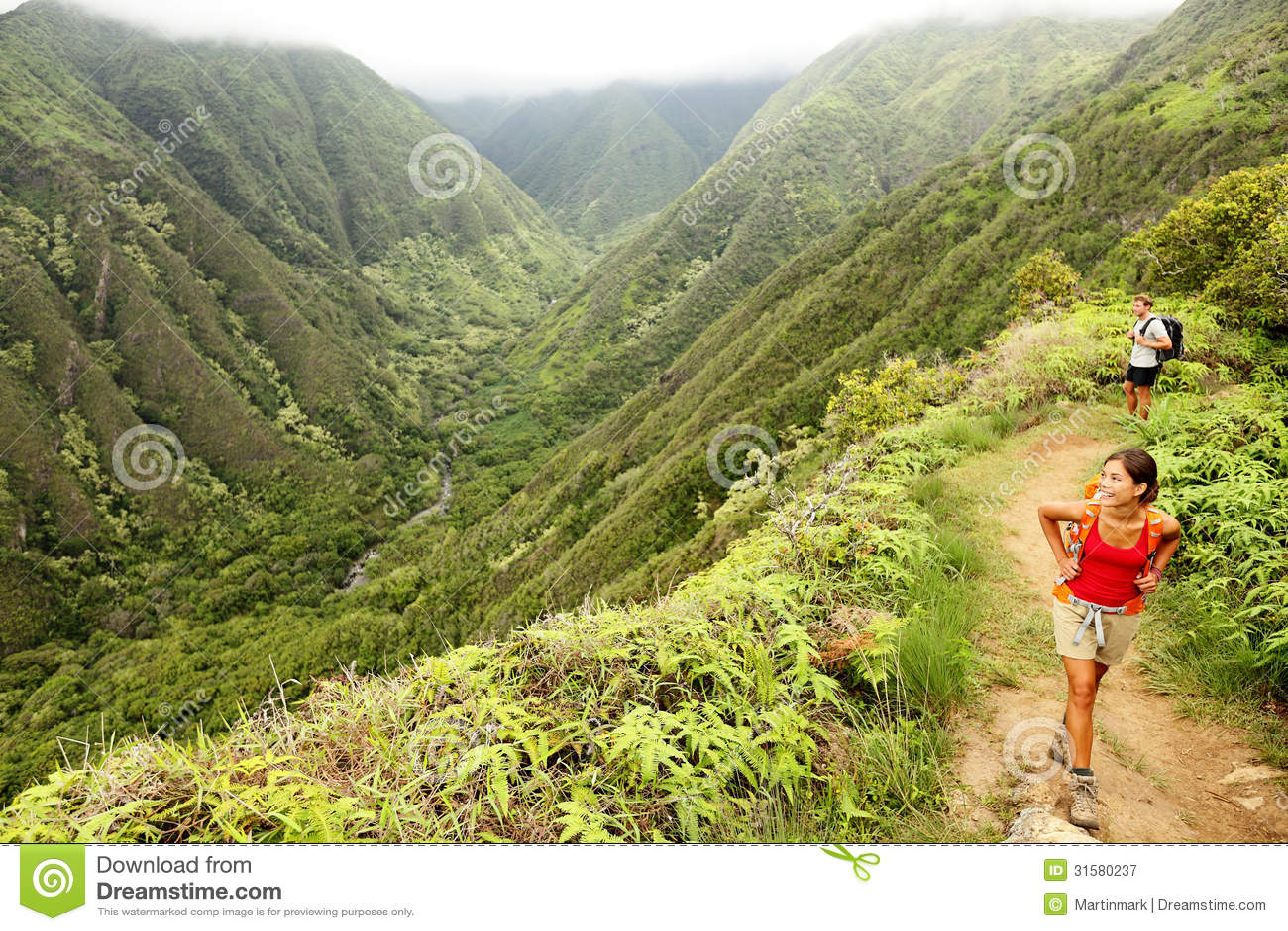Hiking People On Hawaii Waihee Ridge Trail Maui Stock