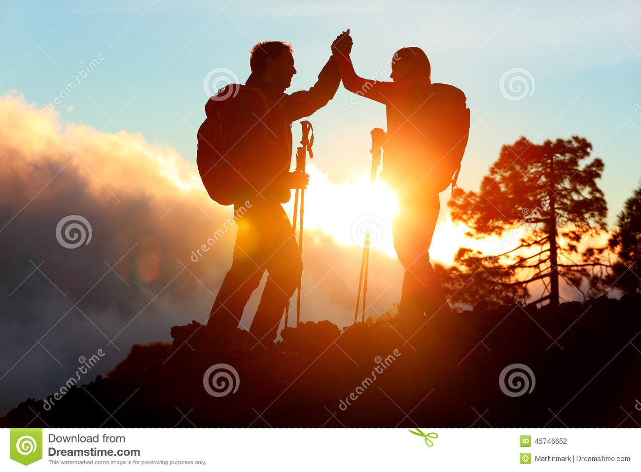 Download Hiking People Reaching Summit Top High Five Stock Photo - Image of adventure, goal: 45746652