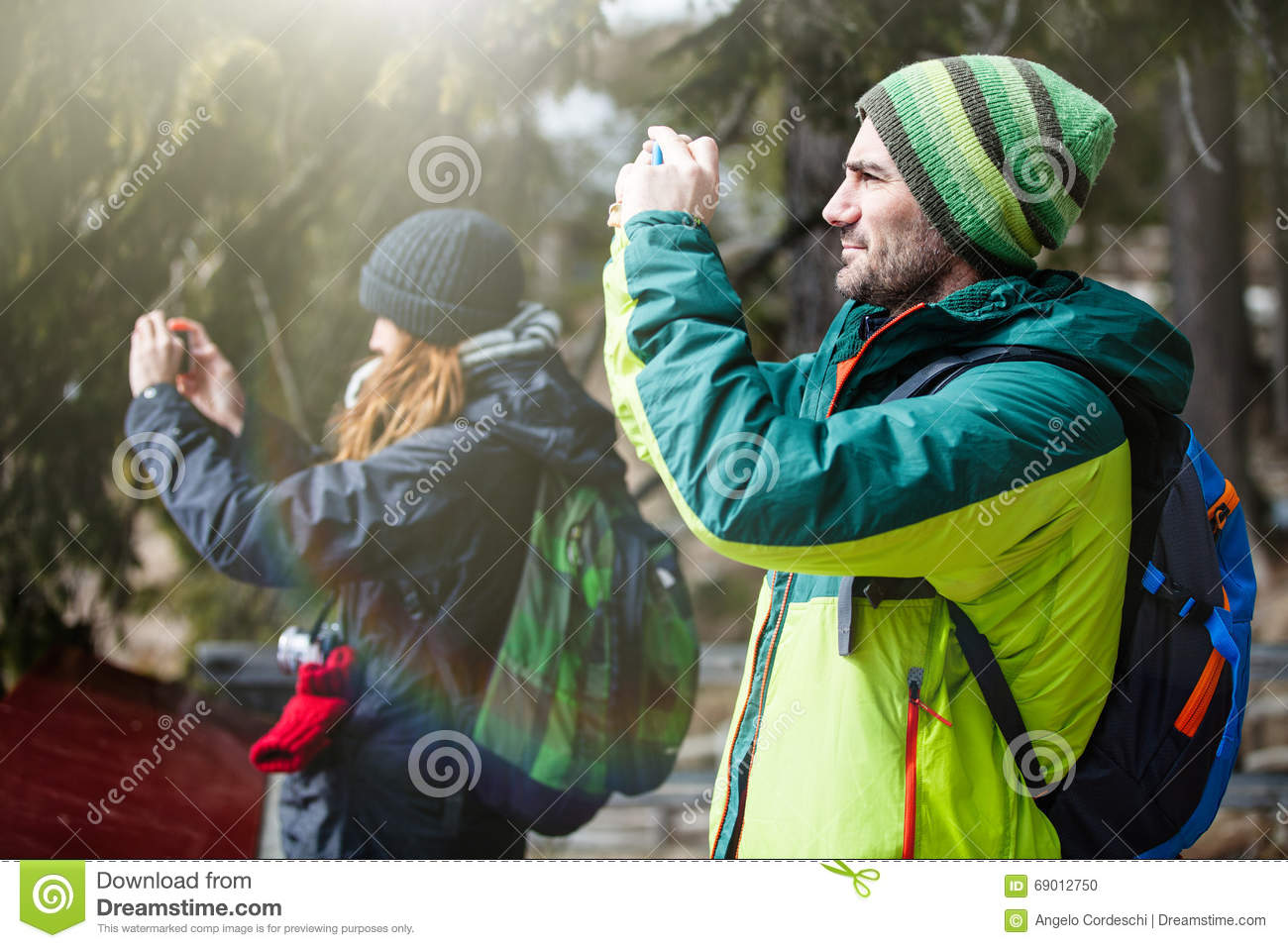 Man Hiking Taking Selfie With Smart Phone. Happy Young Man ...