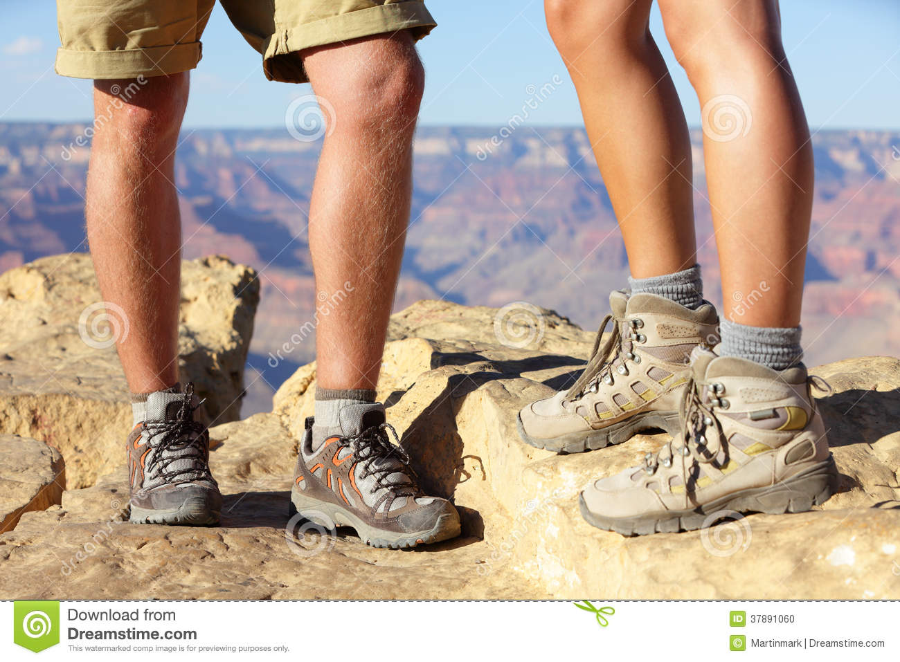 Hiking Shoes On Hikers In Grand Canyon Stock Photo Image