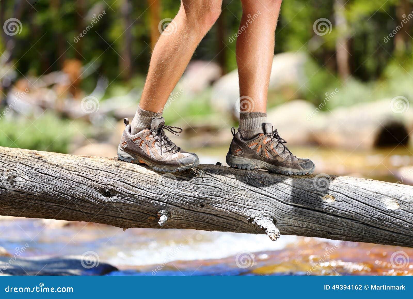 Hiking Shoes Man Hiker Balancing Crossing River Stock