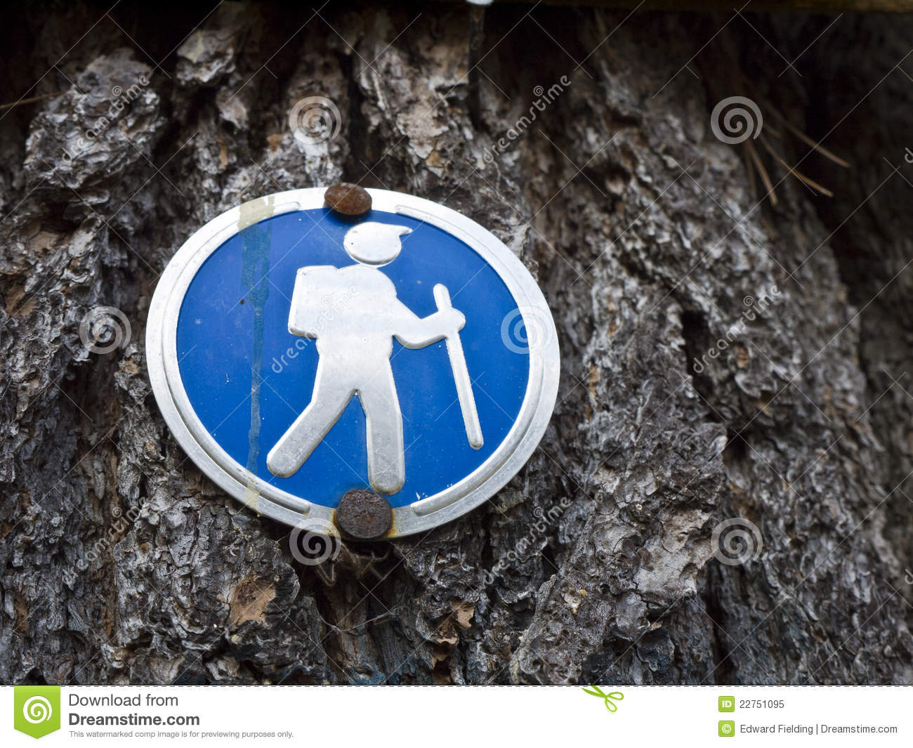 Hiking Sign Trail Marker Stock Image Image Of Blue