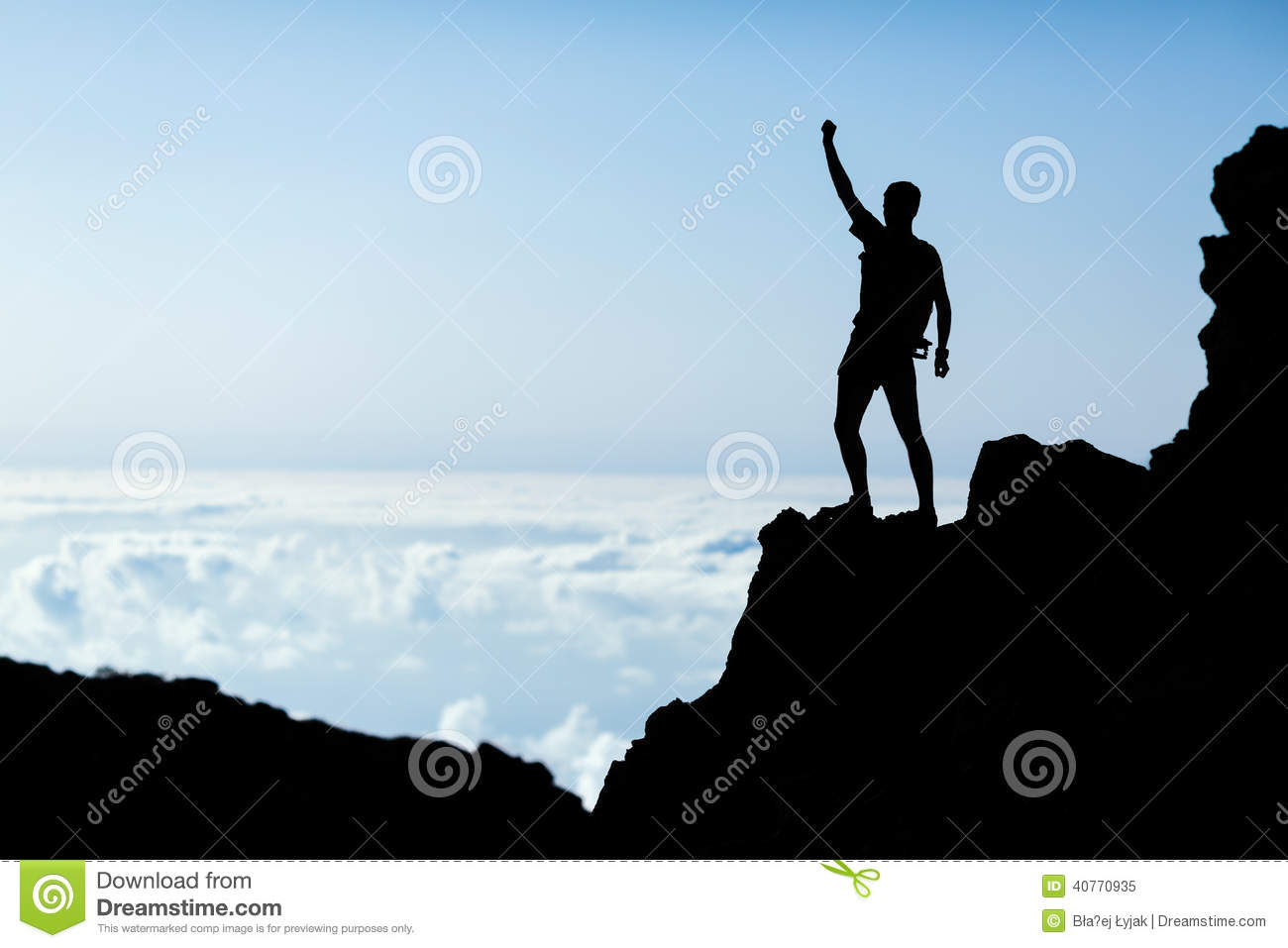 Hiking success silhouette, man trail runner in mountains