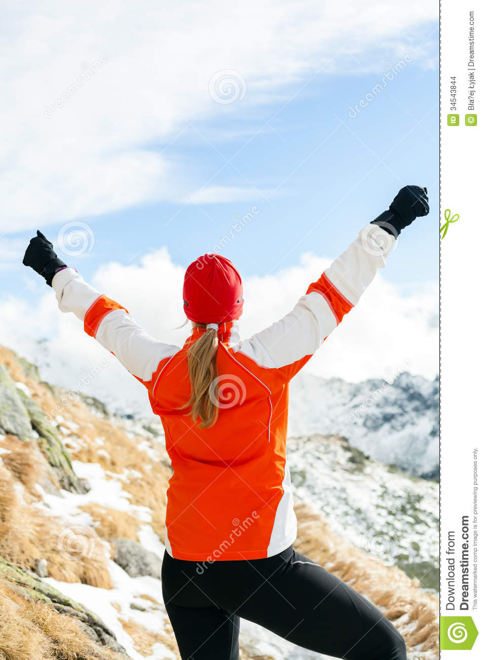 Hiking Success, Happy Woman In Winter Mountains Royalty ...