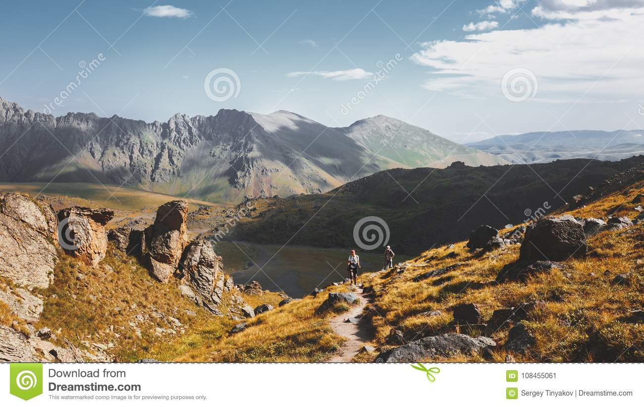 Hiking Team Goes To Mount. Travel Destination Experience Lifestyle Concept concept