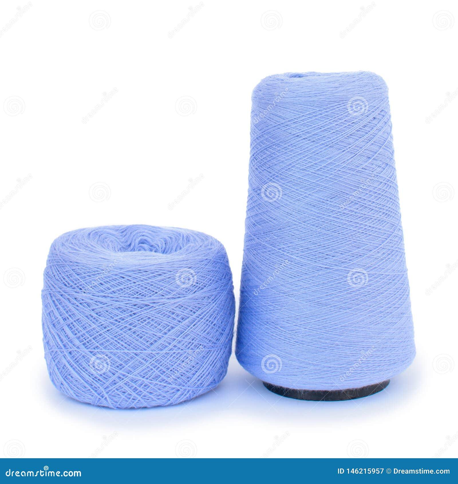 Hilado de lanas azul para hacer punto