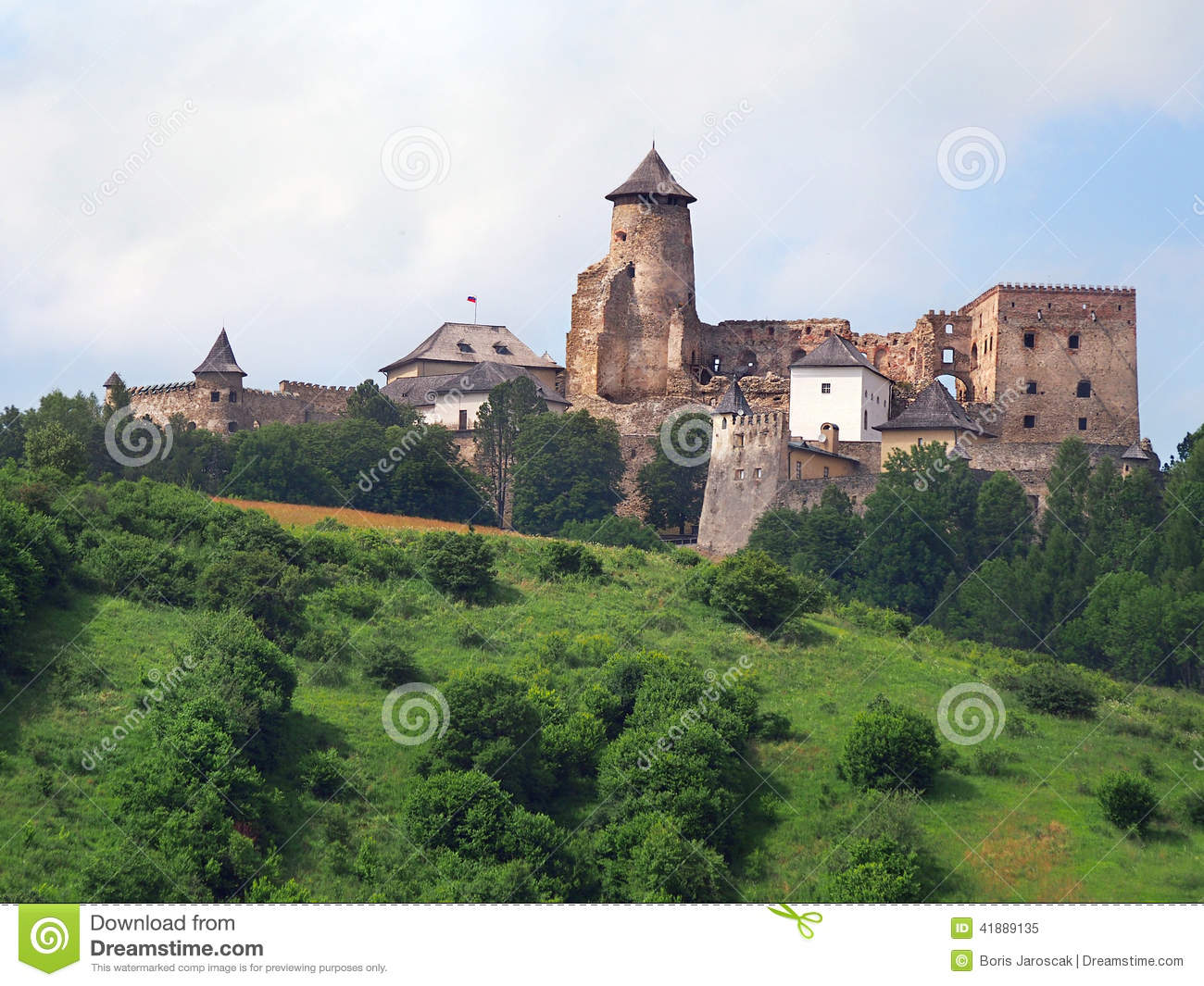 A hill with the castle of Lubovna, Slovakia