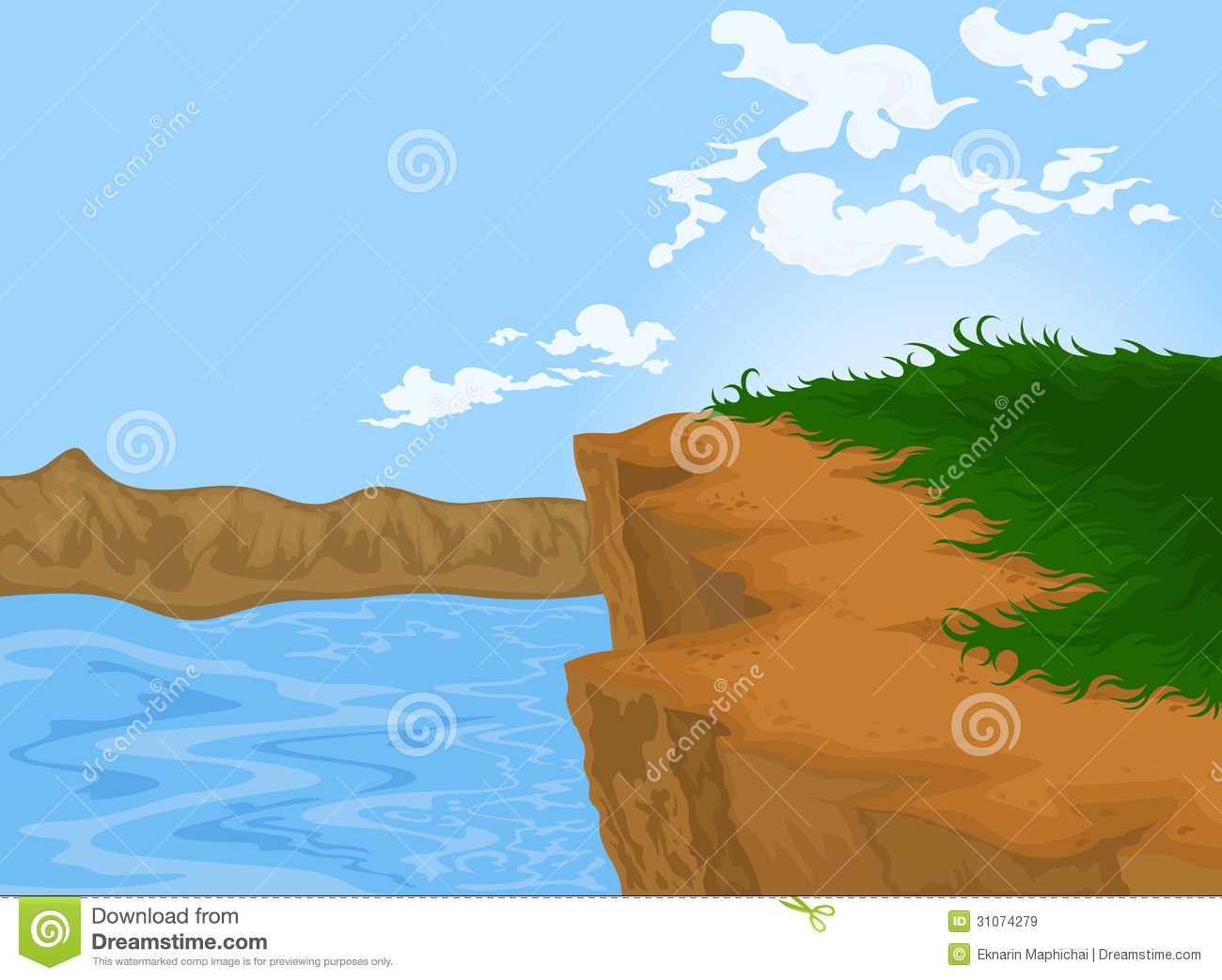 hill and river stock illustration  illustration of background