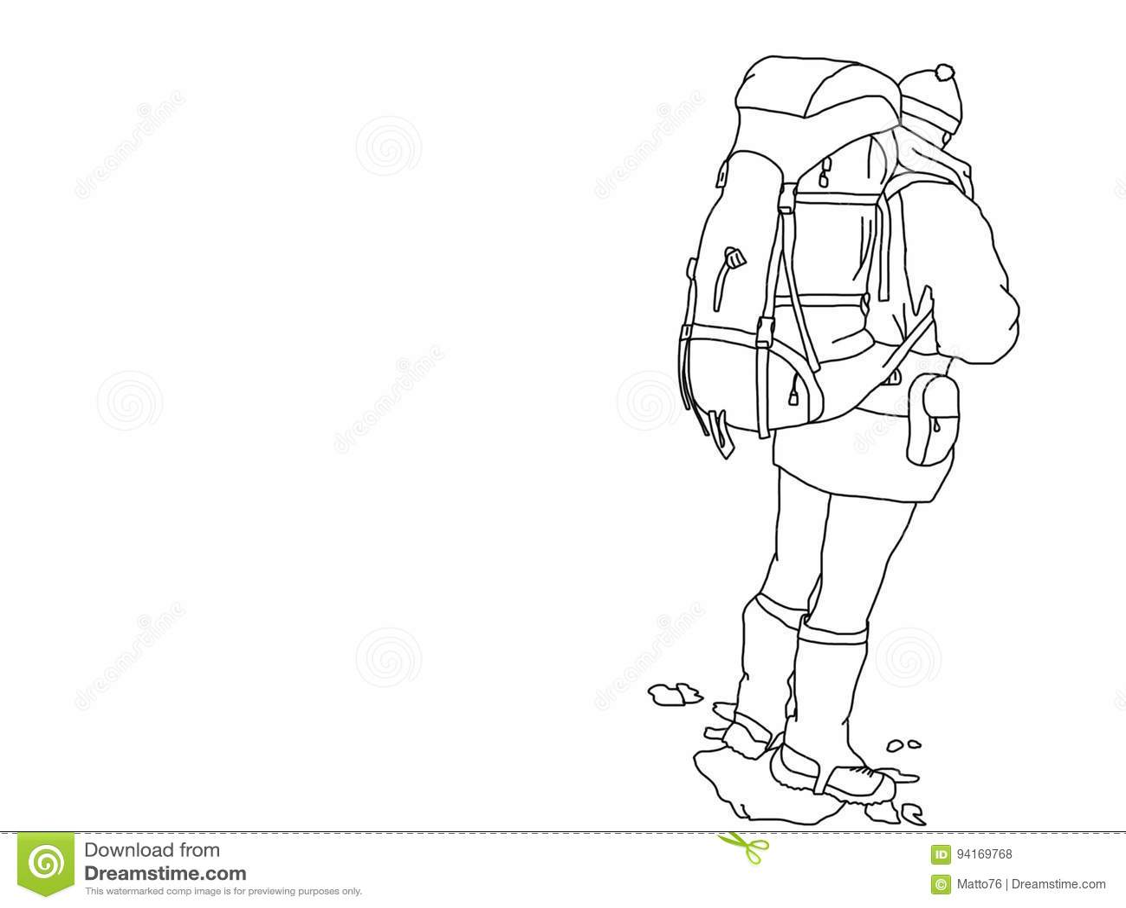 Line Art No Background : Hill walker illustration no background stock
