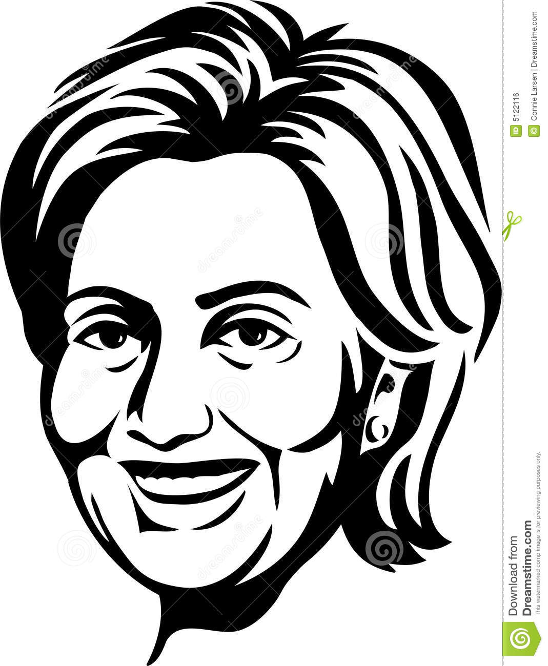 Black and white illustration of democratic presidential contender and ...