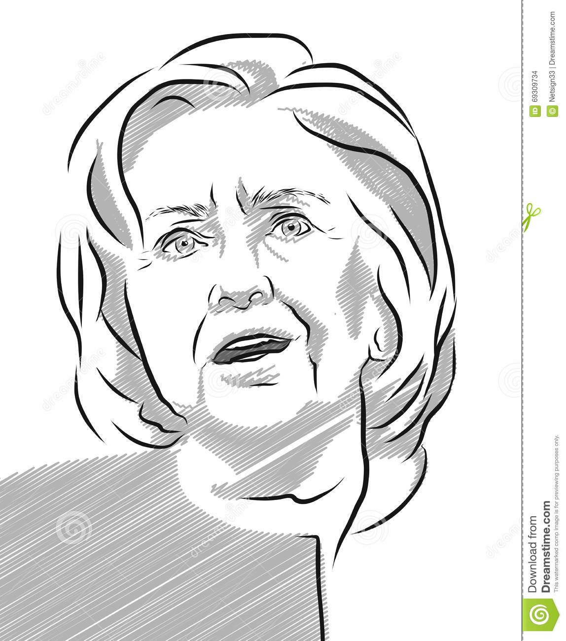 Hillary Clinton Portrait Vector Outline Illustration