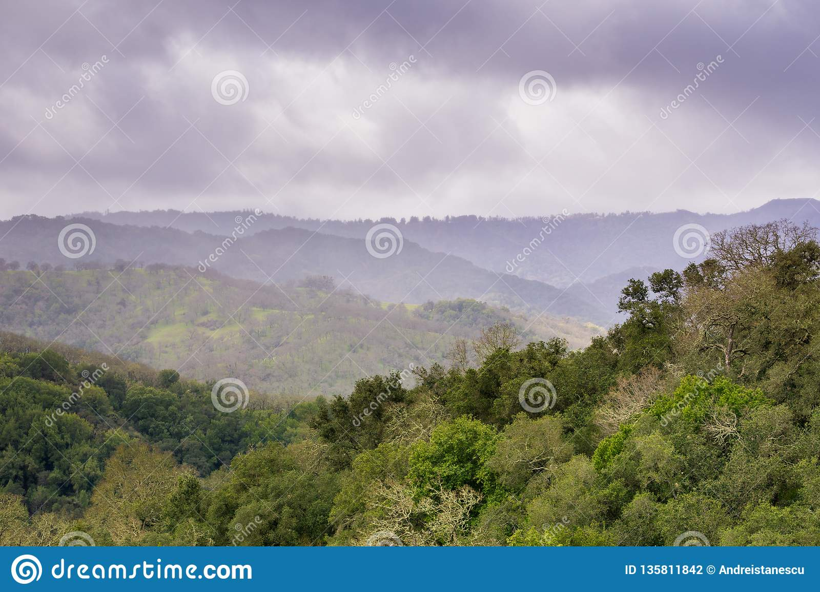 Hills and valleys in Rancho Canada del Oro Open Space Preserve on a stormy spring day, California